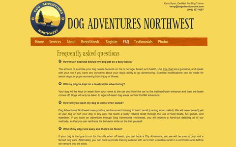 Screenshot of FAQ Page dogadventuresnw.com - Dog Adventures Northwest - Frequently Asked Questions - captured Oct. 5, 2014