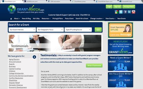Screenshot of Testimonials Page grantwatch.com - Testimonials - GrantWatch - captured Nov. 13, 2016