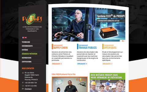 Screenshot of Home Page proxipi.com - Proxipi - Leader en Prévention des Collisions Engins Piétons - captured May 13, 2017