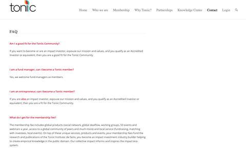 Screenshot of FAQ Page toniic.com - FAQ - Toniic - captured Oct. 19, 2018
