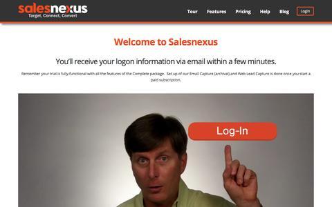 Screenshot of Trial Page salesnexus.com - Free Trial Success - captured Sept. 11, 2017