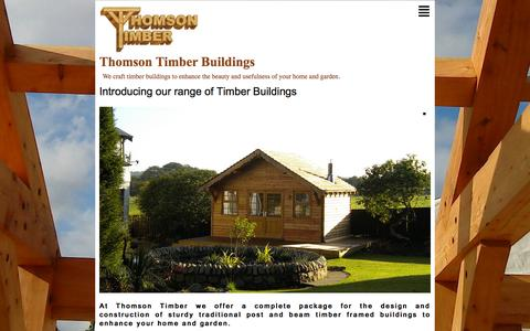 Screenshot of Home Page thomsontimber.co.uk - Thomson Timber Buildings - Introducing our range of Timber Buildings - captured Oct. 10, 2015