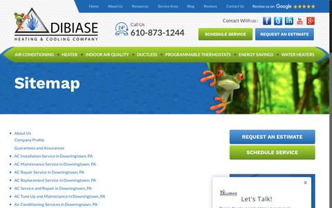Screenshot of Site Map Page dibiasehvac.com - Sitemap | DiBiase Heating and Cooling | HVAC Services | AC Services - captured Oct. 12, 2017