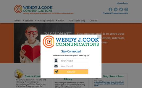 Screenshot of Home Page wendyjcook.com - Wendy J. Cook Communications – Writing, editing and related services for evidence-based advisers - captured Feb. 18, 2016