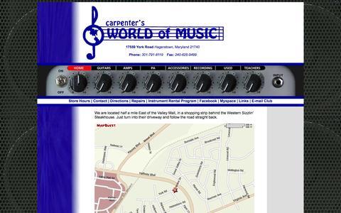 Screenshot of Maps & Directions Page carpentersworldofmusic.com - Carpenter's World of Music - captured Sept. 30, 2014