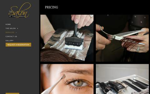 Screenshot of Pricing Page salonatthedomain.com - Pricing - The Salon at The Domain - captured Oct. 9, 2018