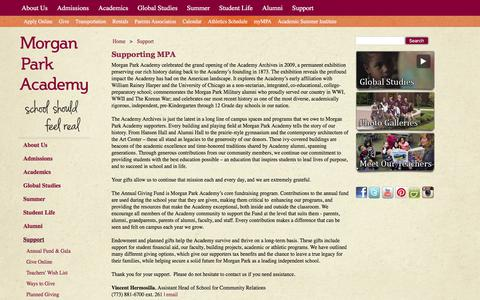 Screenshot of Support Page morganparkacademy.org - Support | Morgan Park Academy - captured June 13, 2017