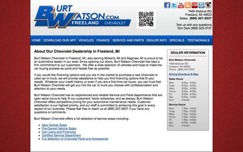 Screenshot of About Page burtwatson.com - Chevrolet Freeland, MI | About Us - captured Oct. 5, 2014