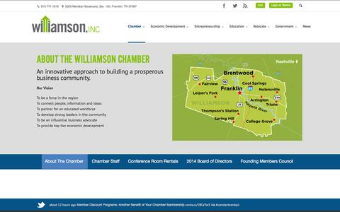 Screenshot of About Page williamsonchamber.com - About the Williamson County Chamber of Commerce| Williamson, Inc. - captured Oct. 3, 2014