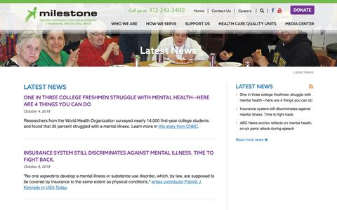 Screenshot of Press Page milestonecentersinc.org - Milestone Centers, Inc. | Centers for People with Developmental & Behavioral Health Challenges - captured Oct. 20, 2018