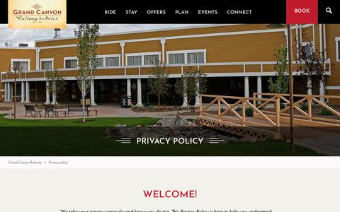 Screenshot of Privacy Page thetrain.com - Our Privacy Policy | Grand Canyon Railway & Hotel - captured Sept. 30, 2018
