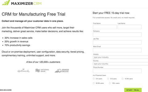 Screenshot of Trial Page maximizer.com - Free Trial - Maximizer CRM - captured April 21, 2018