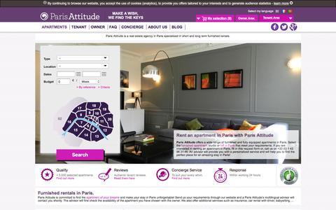 Screenshot of Home Page parisattitude.com - Vacation flats and apartment rentals in Paris by Paris Attitude - captured Dec. 7, 2015