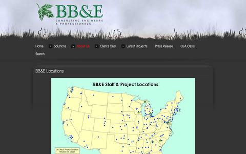 Screenshot of Locations Page bbande.com - BB&E Locations - captured Oct. 4, 2014