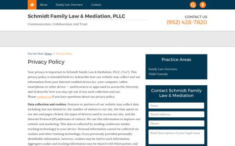 Screenshot of Privacy Page schmidtfamilylaw.com - Privacy Policy - Schmidt Family Law & Mediation, PLLC - captured Oct. 5, 2017