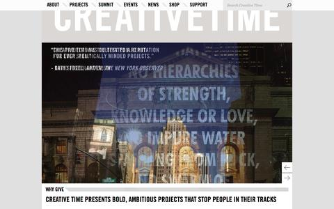 Screenshot of Support Page creativetime.org - Support Creative Time in making bold and ambitious public art - captured July 23, 2018