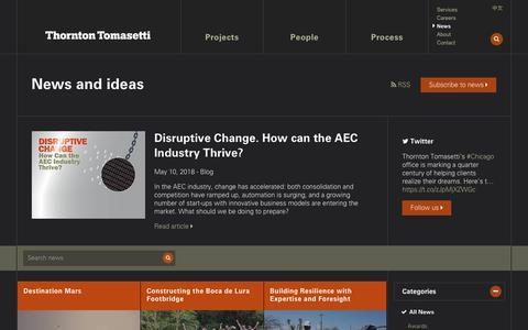 Screenshot of Press Page thorntontomasetti.com - News - Thornton Tomasetti - captured Sept. 21, 2018