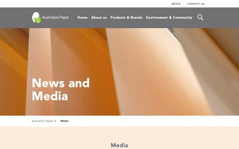 Screenshot of Press Page australianpaper.com.au - Media - Australian Paper - captured Oct. 4, 2018