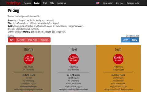 Screenshot of Pricing Page hoteliga.com - Pricing | hoteliga - captured Feb. 2, 2016