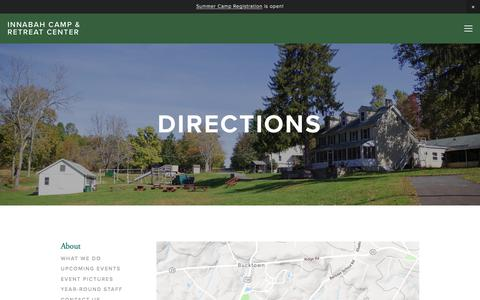 Screenshot of Maps & Directions Page innabah.org - Directions — Innabah Camp & Retreat Center - captured July 2, 2018