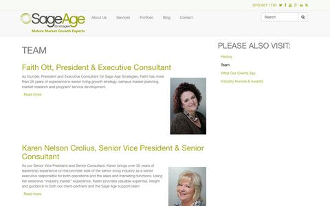 Screenshot of Team Page sageagestrategies.com - Team | Sage Age Strategies - captured Oct. 29, 2014