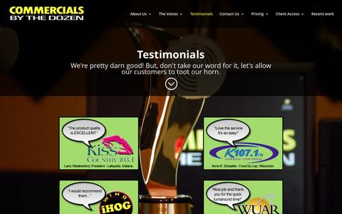 Screenshot of Testimonials Page commercialsbythedozen.com - Testimonials | Commercials By The Dozen - captured May 19, 2017