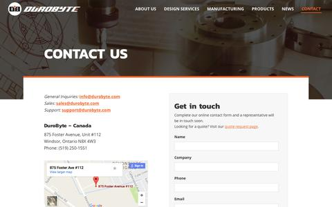 Screenshot of Contact Page durobyte.com - Contact Us – DuroByte Inc. - captured Nov. 24, 2016
