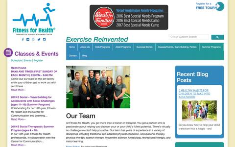 Screenshot of Team Page fitnessforhealth.org - We're Dedicated to Helping You Discover Your Full Potential - captured Oct. 10, 2018