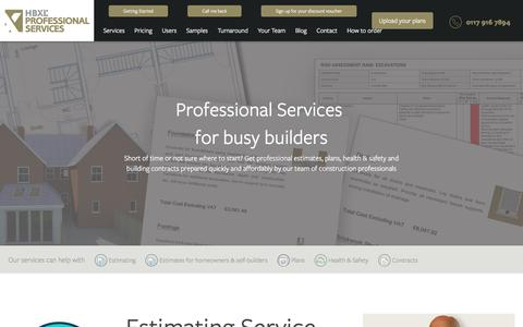 Screenshot of Products Page estimating-service.co.uk - HBXL - leading estimating and plans service - captured July 5, 2017