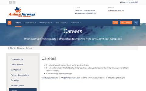 Screenshot of Jobs Page animalairways.com - Animal Airways - A Career Flying Dogs Cats and Other Pets - captured July 30, 2018