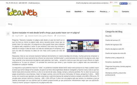Screenshot of Blog ideaweb.es - Blog | ideaWeb Diseño paginas web y logotipos en Madrid - captured Sept. 19, 2014