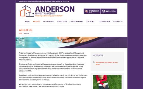 Screenshot of About Page anpm.ie - Anderson Property Management DublinAnderson Property Management - captured Nov. 2, 2014
