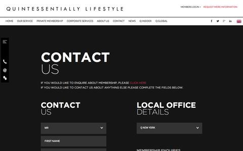 Screenshot of Contact Page quintessentially.com - QUINTESSENTIALLY | Contact Us - captured Sept. 19, 2014