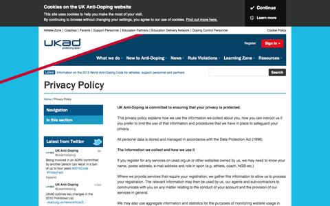 Screenshot of Privacy Page ukad.org.uk - Privacy Policy - captured Oct. 3, 2014