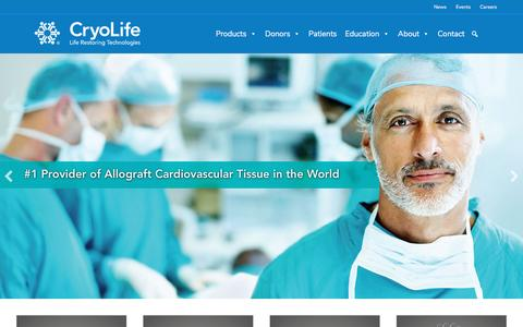 Screenshot of Home Page cryolife.com - CryoLife, Providing State of the Art Biomedical Services - captured May 8, 2017