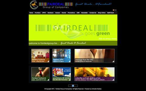 Screenshot of Home Page fairdealgroup.biz - FAIRDEAL Group of Companies ..... Powered by Animatrix Studios - captured Sept. 30, 2014