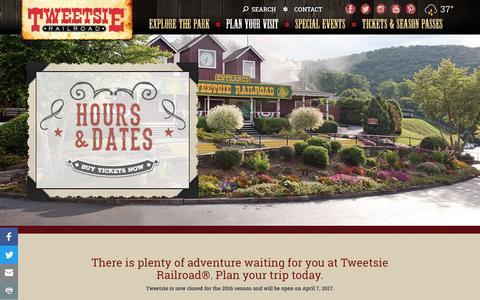 Screenshot of Hours Page tweetsie.com - Hours & Dates   Tweetsie Railroad - captured Dec. 4, 2016
