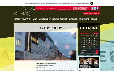Screenshot of Privacy Page richmix.org.uk - Privacy Policy :: Rich Mix - captured Sept. 25, 2014