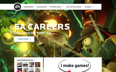 Screenshot of Jobs Page ea.com - Home | EA Careers - captured Feb. 2, 2016