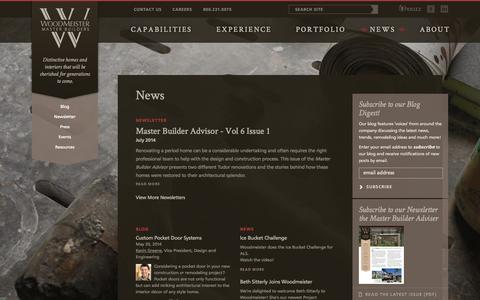Screenshot of Press Page woodmeister.com - News at Woodmeister Master Builders - captured Oct. 7, 2014