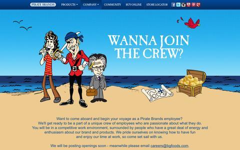 Screenshot of Jobs Page piratebrands.com - Careers | Pirate Brands - captured Sept. 17, 2014