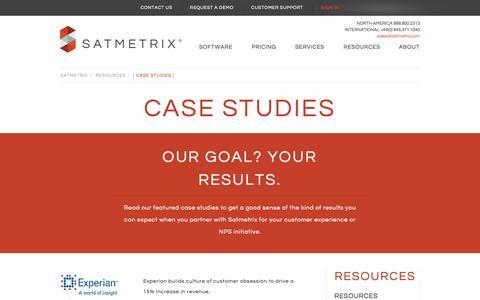 Screenshot of Case Studies Page satmetrix.com - Customer Experience Management | Satmetrix - captured Sept. 17, 2014