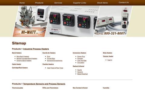 Screenshot of Products Page Services Page Site Map Page hiwattinc.com - Process Heating Support & Temperature Sensors   Process Controls & Temperature Control Sensors - captured Dec. 10, 2015