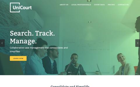 Screenshot of Home Page unicourt.com - Unicourt | Search, Track & Manage Court Cases Collaboratively - captured Feb. 26, 2016