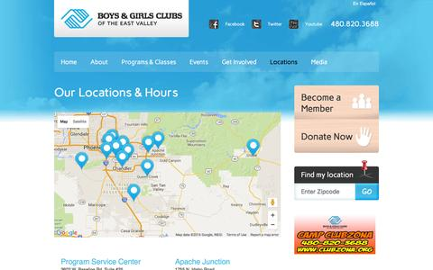 Screenshot of Locations Page clubzona.org - Our Locations & Hours - Boys & Girls Clubs of the East Valley - captured Feb. 8, 2016