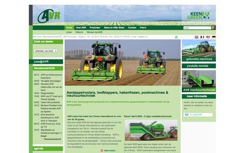 Screenshot of Home Page avr.be - AVR - aardappelrooiers, loofklappers, hakenfrezen - captured Oct. 2, 2014