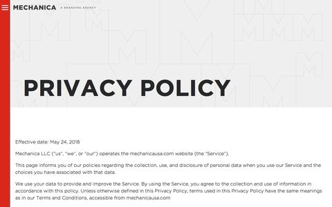 Screenshot of Privacy Page mechanicausa.com - Privacy Policy - Mechanica - captured July 8, 2018