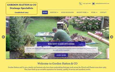 Screenshot of Home Page drainswirral.com - Gordon Hatton & Co | Blocked Drains Wirral | Drainage Wirral - captured Sept. 29, 2018