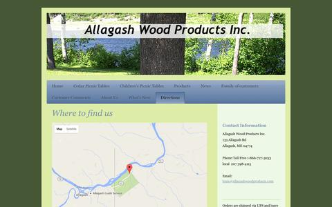 Screenshot of Maps & Directions Page allagashwoodproducts.com - Directions To Allagash Wood Products Inc. in Allagash, ME - captured Feb. 5, 2016
