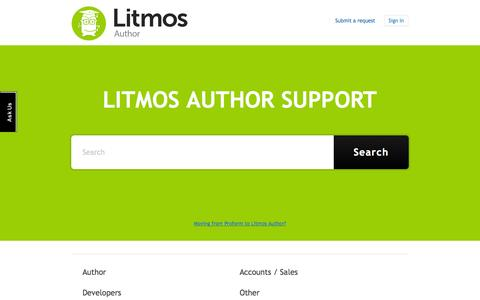 Screenshot of Support Page zendesk.com - Litmos Author Support - captured Sept. 12, 2014